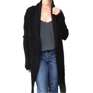 KERISMA Black Long Fitted Sleeve Hi Low Textured Stretchy Open Front Cardigan M
